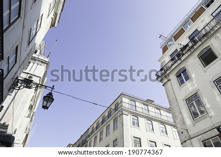 Streets of Lisbon typical cable tram, detail of the streets of Lisbon, tourism in the city - stock photo