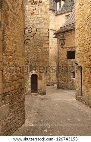 Streets of Sarlat, medieval town, Dordogne (Perigord), Aquitaine, France - stock photo