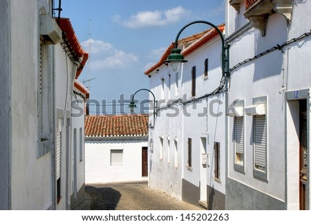 Streets of Serpa village, Portugal - stock photo