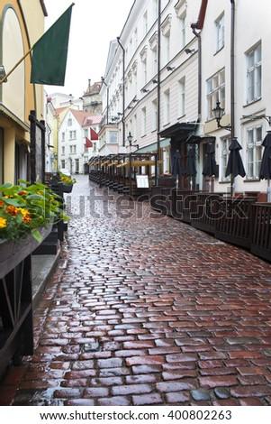 Streets of the Old City in the rain. Tallinn, Estonia. - stock photo