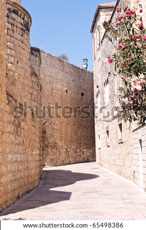 Streets of the Old City of Jerusalem . Israel. - stock photo