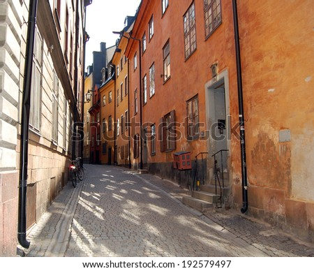 Streets of the world: GamlaStan Stockholm-Sweden - stock photo