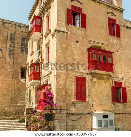 Streetview of the capital of Malta,  Valletta - stock photo