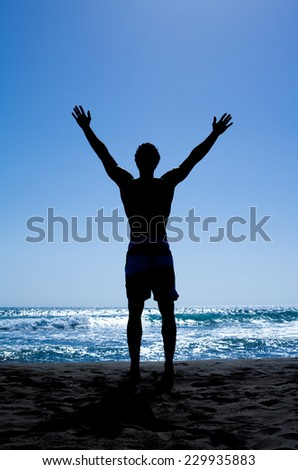 Strength man silhouette free - stock photo
