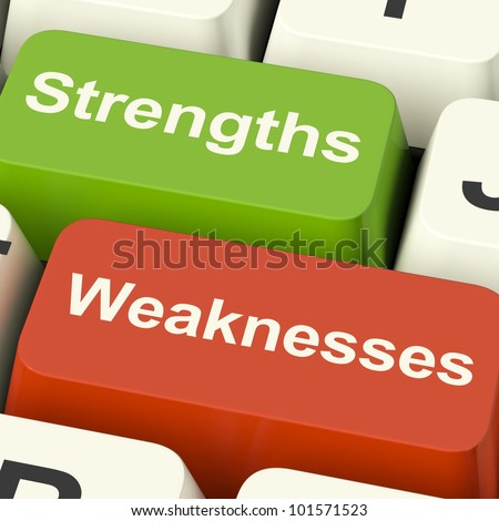 Strengths And Weaknesses Computer Keys Shows Performance Or Analyzing - stock photo