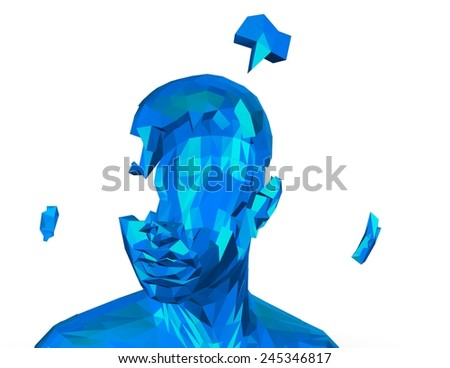 Stress and depression concept with shattered human face. 3d illustration isolated on white. - stock photo