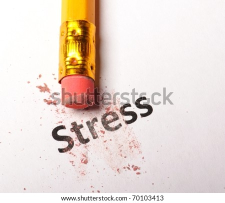 stress at business office concept with pencil and eraser - stock photo