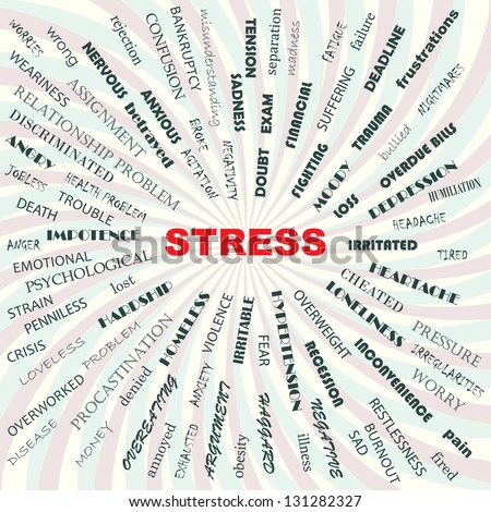 stress contributory factors, causes, symptoms, effects, conceptual illustration. - stock photo