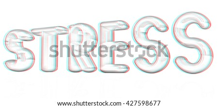 stress 3d text on a white background. Pencil drawing. 3D illustration. Anaglyph. View with red/cyan glasses to see in 3D. - stock photo