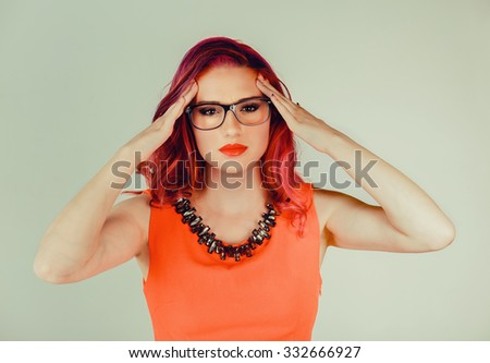 Stress depression. Closeup portrait stressed sad young woman eyes closed looking at camera hands touching head isolated green wall background.  Negative human emotion expression reaction body language - stock photo