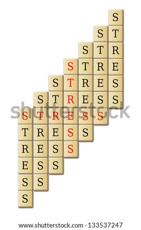 stress info-text written in a jigsaw puzzle crossword. - stock photo