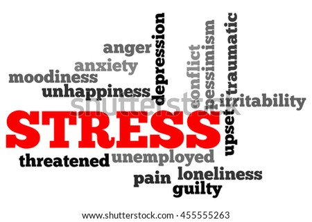 Stress info word cloud concept on white background. - stock photo