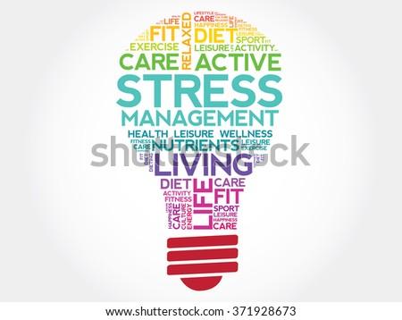Stress Management bulb word cloud, health concept - stock photo