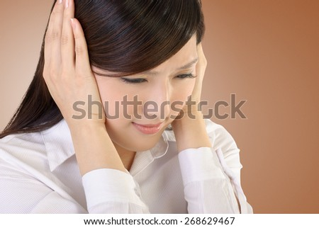 Stress of business woman image with Asian beauty portrait. - stock photo