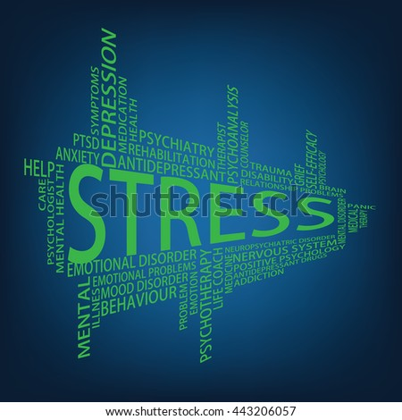 Stress Tag Cloud - stock photo
