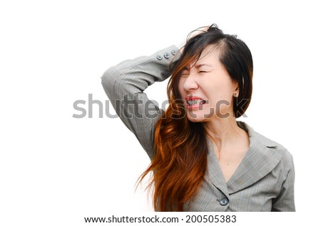 Stress. Woman stressed is going crazy pulling her hair in frustration. Close-up of Smart businesswoman on white. - stock photo