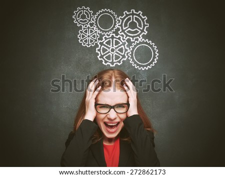 Stress. woman stressed with headache. Blackboard concept young female about blackboard - stock photo