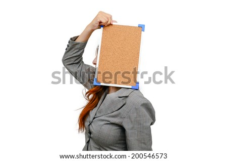 Stress woman with cockboard isolated on white. - stock photo