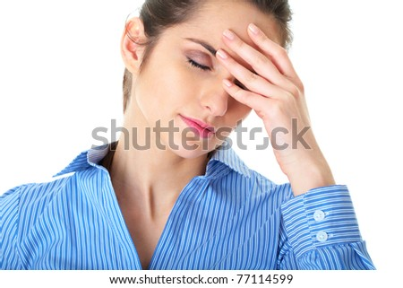 stressed and depressed young atractive businesswoman, suffers from headache, isolated on white - stock photo
