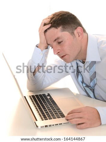 Stressed and Overworked Businessman with headache on white background - stock photo