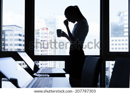Stressed business woman. - stock photo