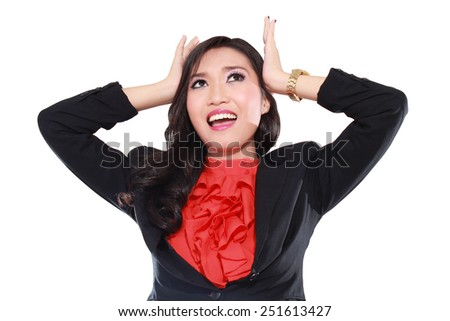 Stressed businesswoman with a lot of pressure, isolated on white background - stock photo