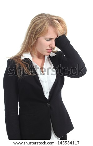 Stressed businesswoman with her hand in forehead isolated on a white background - stock photo