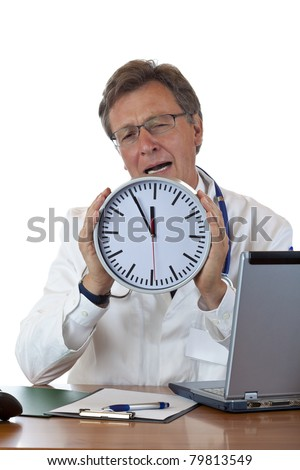 Stressed doctor holds clock and cries because of time pressure. Isolated on white background. - stock photo