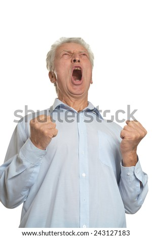 Stressed elderly man on a white background - stock photo