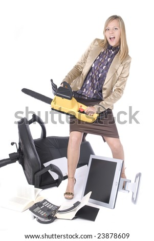 stressed executive business woman breaking her office - stock photo