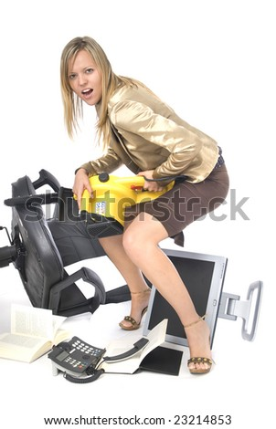 stressed executive businesswoman breaking her office desperate - stock photo