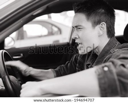 Stressed male driver. - stock photo