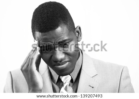 Stressed man, in black and white - stock photo