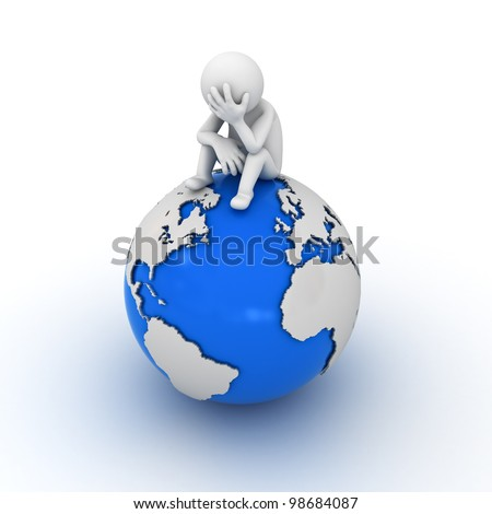 Stressed man sitting on top of the globe - stock photo