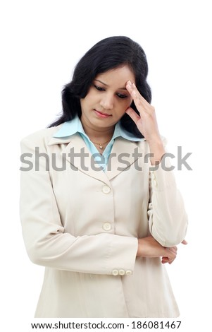 Stressed young business woman against white - stock photo