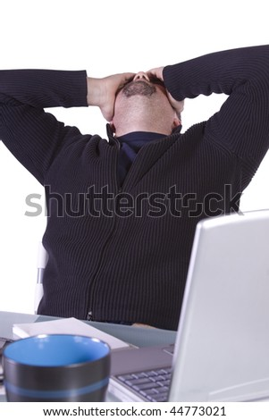 Stressed Young Focused Casual Professional at Work - Isolated Background - stock photo
