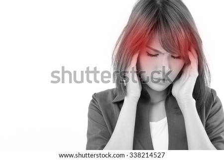 stressful business woman suffers from headache, stress, overwork, migraine on white isolated background - stock photo