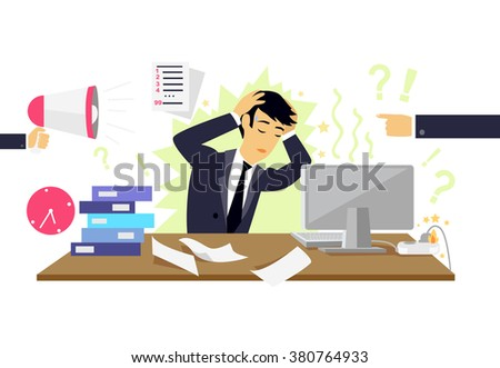 Stressful condition icon flat isolated. Stress health person, disorder and problem, businessman depression, mental attack psychological, busy and chaos illustration. Stressful condition concept - stock photo