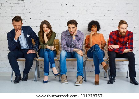 Stressful students waiting for exam, test. Education concept - stock photo