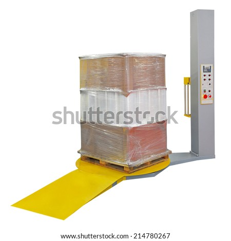 Stretch wrapping for pallet protection during transport isolated - stock photo