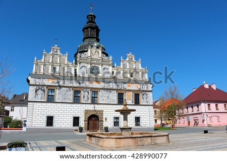 STRIBRO, CZECH REPUBLIC - MAY 8, 2016: Stribro renaissance town hall on square of town Stribro (Silver). Stribro is historical medieval mining town in West Bohemia, Czech Republic, European union. - stock photo