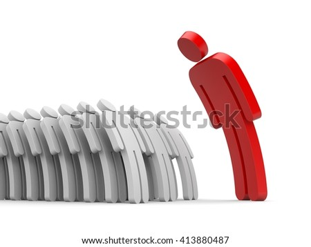 Strict boss and employee subordinates. 3d illustration - stock photo