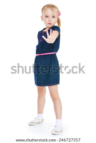 Strict girl showing gesture stop.Isolated on white background - stock photo