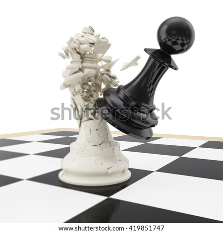 Strike a pawn on the king on a chess board, motion blur. 3d illustration - stock photo