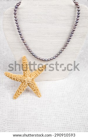 String of Black Pearl Necklace - stock photo