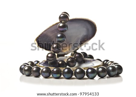 String of black pearls in a sea shell on white - stock photo