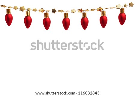 String of Christmas ornament lights on gold garland - stock photo