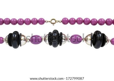 String of plastic purple bead on white background - stock photo