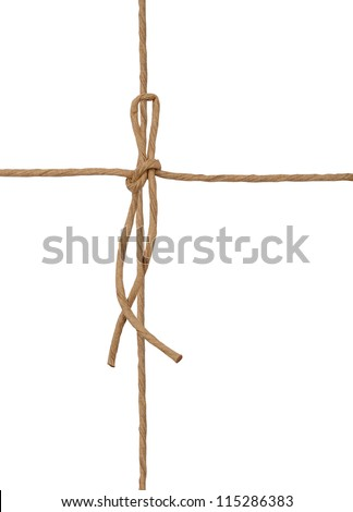 String tied in wrapping white box - stock photo