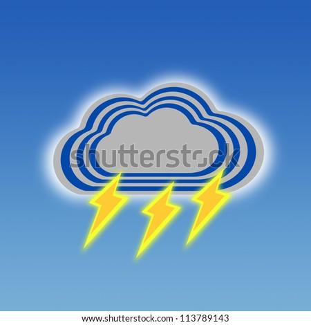 Stripe design Dark Cloud and Thunder, Weather set - stock photo